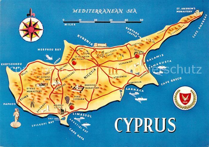 AK / Ansichtskarte Cyprus_Zypern Inselkarte Cyprus Zypern