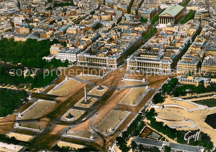 AK / Ansichtskarte Paris Fliegeraufnahme La Place de la Concorde les MInist?res Ambassade des USA Rue Royale Eglise de la Madeleine Paris