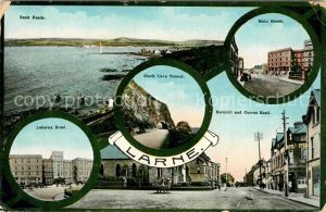 AK / Ansichtskarte Larne Bank Heads Main Street Black Cave Tunnel Labarna Hotel Barnhill and Curran Road Larne