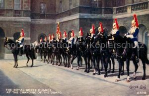 AK / Ansichtskarte London The Royal Horse Guards at the changing of the Guard London
