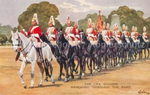 AK / Ansichtskarte London The Life Guards Marching through the Park London
