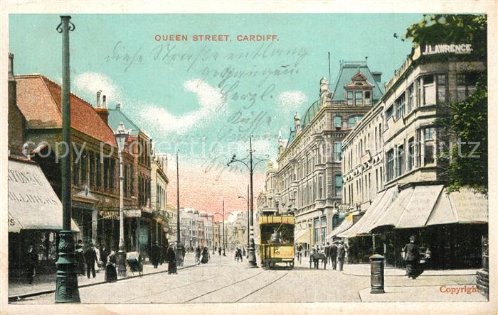 AK / Ansichtskarte Cardiff_Wales Queen Street Cardiff_Wales