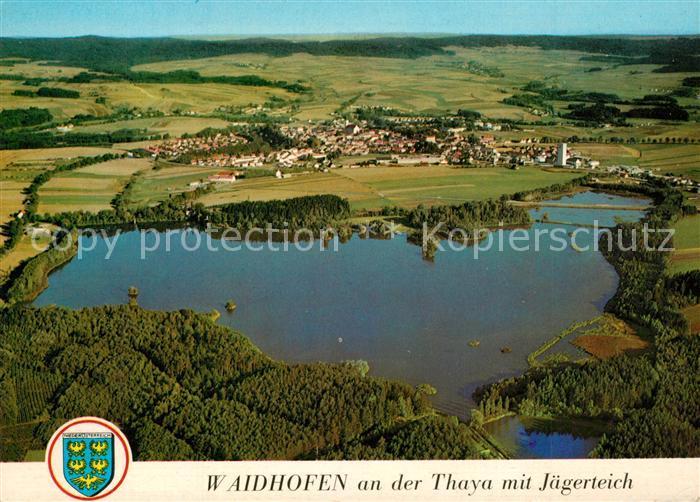 AK / Ansichtskarte Waidhofen_Thaya Fliegeraufnahme Jaegerteich Waidhofen Thaya