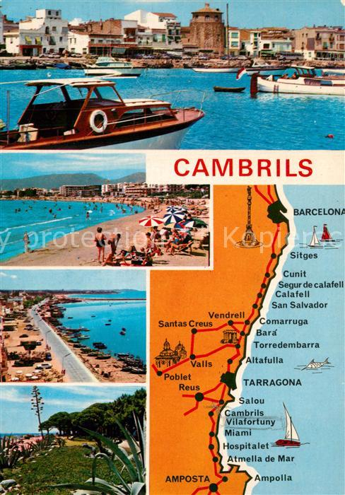 AK / Ansichtskarte Cambrils Strand Strassenkarte Cambrils