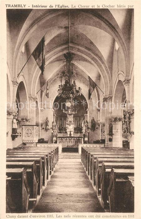 AK / Ansichtskarte Trambly Interieur de l Eglise le choeur et le clocher Trambly