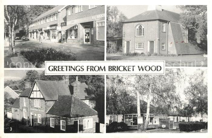 AK / Ansichtskarte Bricket_Wood Oakwood Road St Lukes Church Black Boy Post Office