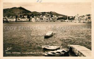 AK / Ansichtskarte Port Vendres Vue de la Ville prise de la Plage Port Vendres