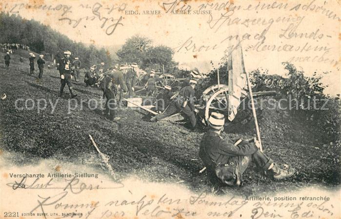 AK / Ansichtskarte Militaria_Schweiz Verschanzte Artillerie Stellung  Militaria Schweiz