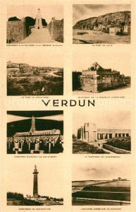AK / Ansichtskarte Verdun_Meuse Monument Victoire Le Fort de Vaux Monument de la Chapelle Sainte Fine Cimetiere National Monument de Monifaction Verdun Meuse
