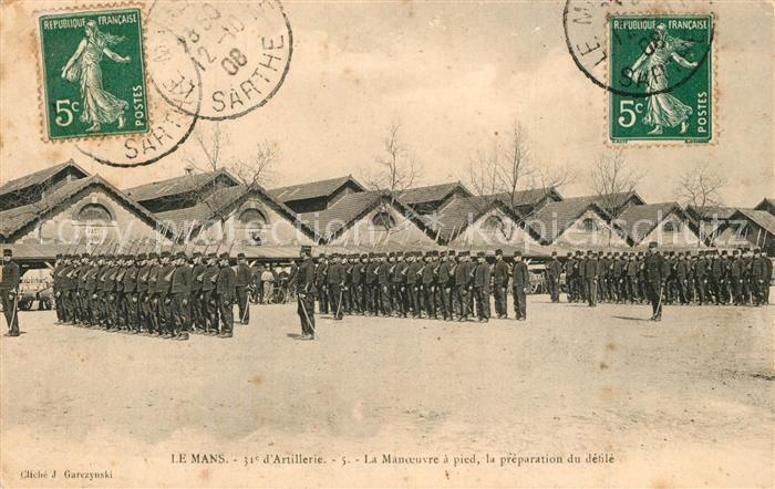 AK / Ansichtskarte Le_Mans_Sarthe 31e Regiment d'Artillerie La Manoeuvre a pied la preparation du defile Le_Mans_Sarthe