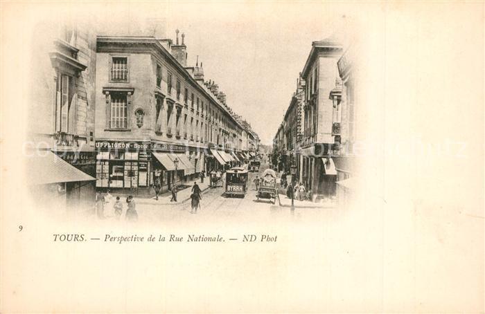 AK / Ansichtskarte Tours_Indre et Loire Perspective de la Rue Nationale Tours Indre et Loire