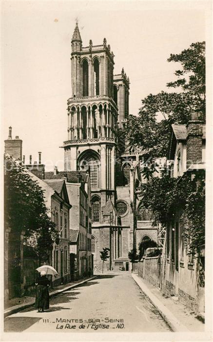 AK / Ansichtskarte Mantes sur Seine Rue de l Eglise Mantes sur Seine