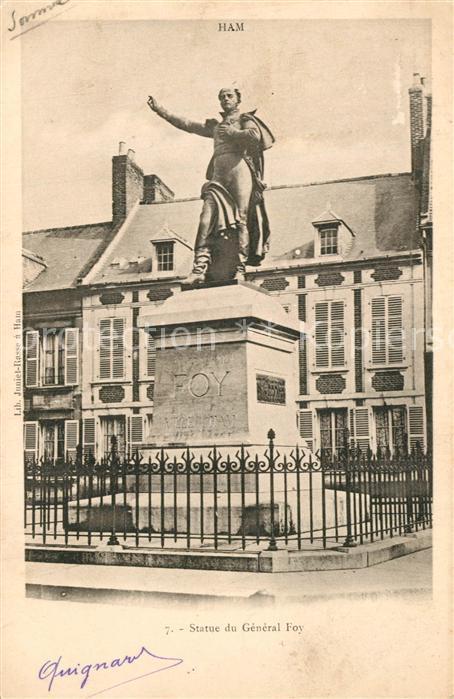 AK / Ansichtskarte Ham_Somme Statue du General Foy Monument Ham_Somme