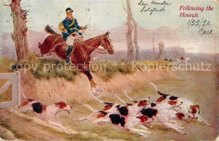 AK / Ansichtskarte Pferdesport_Pferderennen_Reitsport Jagdreiten Jagdhunde Pferd