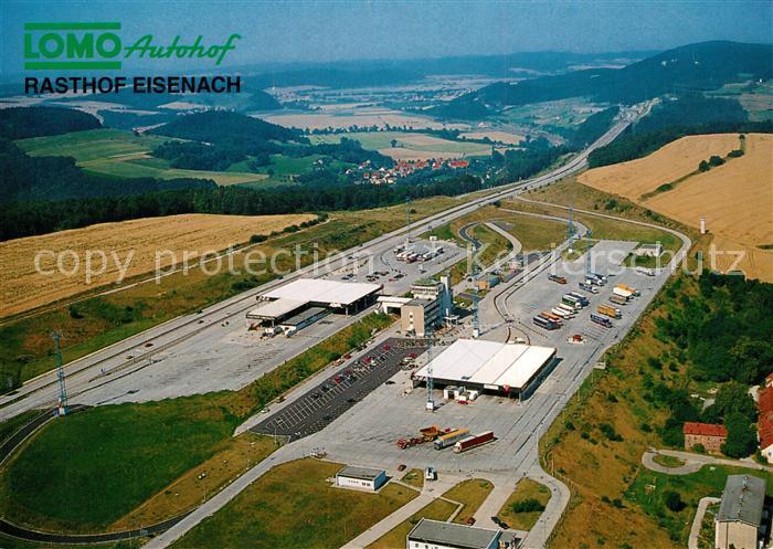 AK / Ansichtskarte Autobahn Lomo Autohof Rasthof Eisenach Fliegeraufnahme Krauthausen  0
