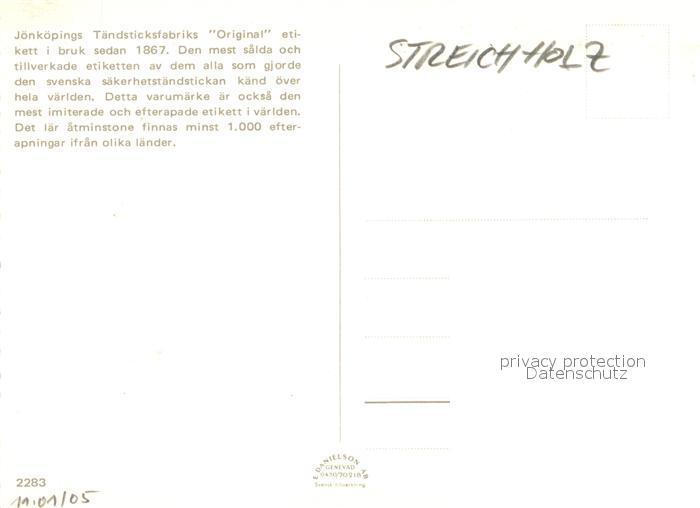 AK / Ansichtskarte Streichholz J?nk?pings T?ndsticksfabrik Patent S?kerhets T?ndstickor   1