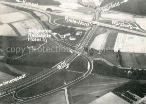 AK / Ansichtskarte Autobahn Fliegeraufnahme Autohafen Fulda Nord Rasthaus und Hotel Esso