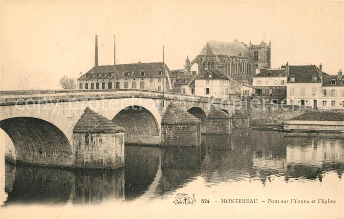 AK / Ansichtskarte Montereau sur le Jard Pont sur l`Yonne et l`Eglise Montereau sur le Jard
