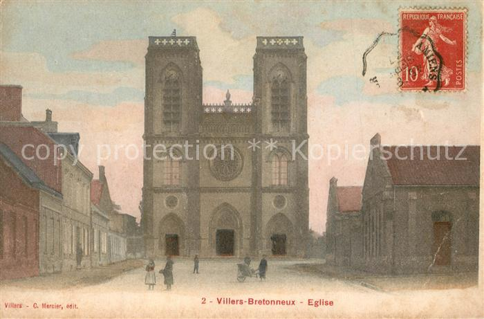 AK / Ansichtskarte Villers Bretonneux Eglise Villers Bretonneux 0