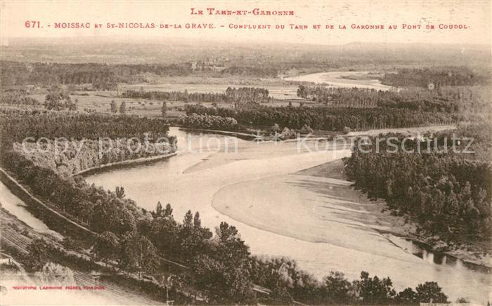 AK / Ansichtskarte Moissac et Saint Nicolas de la Grave Confluent du Tarn et de la Garonne Moissac