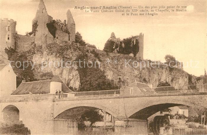 AK / Ansichtskarte Angles sur l_Anglin Le Vieux Chateau feodal Sa Chapelle le Moulin et le Pontsur l Auglin Angles sur l_Anglin 0