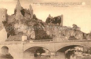 AK / Ansichtskarte Angles sur l_Anglin Le Vieux Chateau feodal Sa Chapelle le Moulin et le Pontsur l Auglin Angles sur l_Anglin