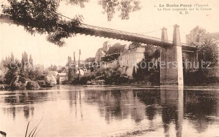 AK / Ansichtskarte La_Roche Posay Le Pont suspendu sur la Creuse La_Roche Posay