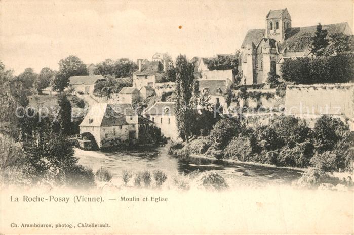 AK / Ansichtskarte La_Roche Posay Moulin et Eglise La_Roche Posay