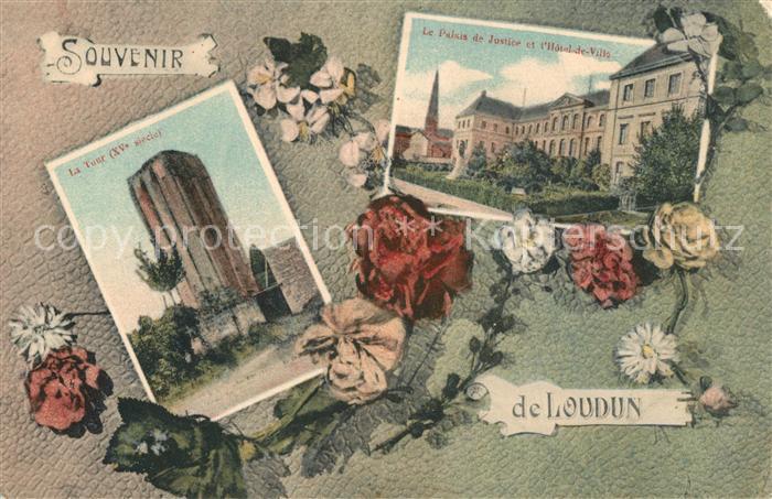 AK / Ansichtskarte Loudun La Tour Le Palais de Justice et l'Hotel de Ville Loudun