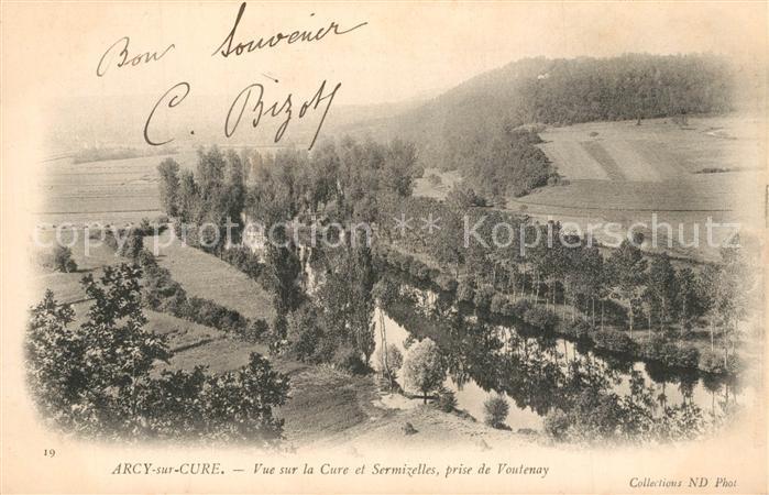 AK / Ansichtskarte Arcy sur Cure_Yonne Vue sur la Cure et Sermizelles prise de Voutenay Arcy sur Cure Yonne