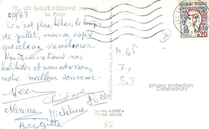 AK / Ansichtskarte Les_Sables d_Olonne La Plage Les_Sables d_Olonne 1