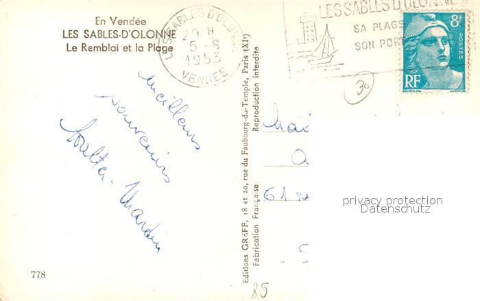 AK / Ansichtskarte Les_Sables d_Olonne Le Remblai et la Plage Les_Sables d_Olonne 1