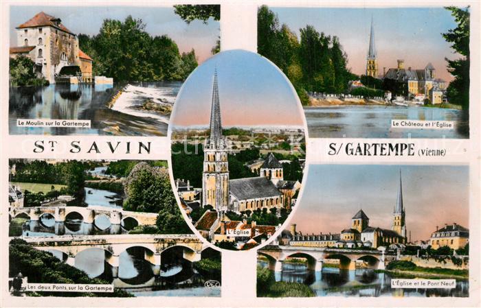 AK / Ansichtskarte Saint Savin sur Gartempe Le Moulin Le Chateau et Eglise Les deux Ponts Pont Neuf
