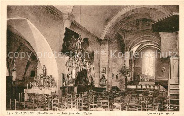 AK / Ansichtskarte Saint Auvent Interieur de l Eglise Saint Auvent