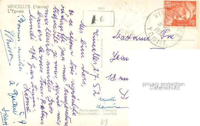AK / Ansichtskarte Vincelles_Yonne Partie an der Yonne Vincelles_Yonne 1