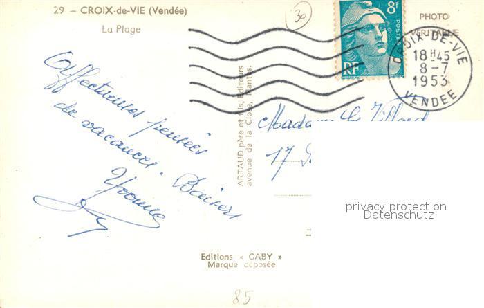 AK / Ansichtskarte Croix_de_Vie_Vendee La Plage Croix_de_Vie_Vendee 1