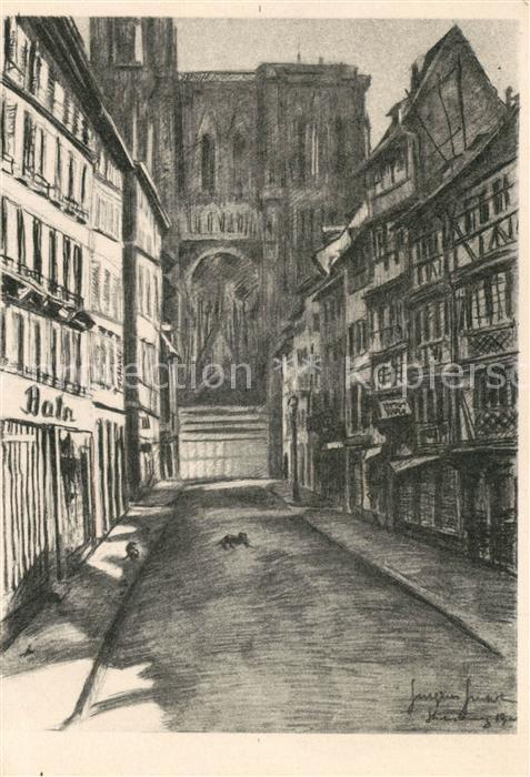 Strasbourg_Alsace evacue 1939   1940 Kuenstlerkarte Strasbourg Alsace 0