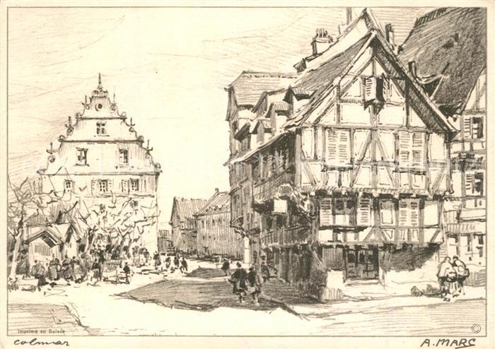 Colmar_Haut_Rhin_Elsass Ortsmotiv Zeichnung Colmar_Haut_Rhin_Elsass 0