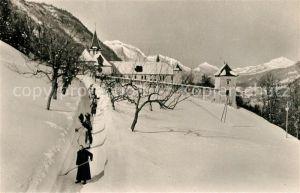 AK / Ansichtskarte Abbaye_de_Tamie_Savoie Religieux elargissant la route de l Abbaye en hiver