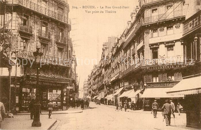 AK / Ansichtskarte Rouen Rue Grand Pont Vue prise du Theatre Rouen