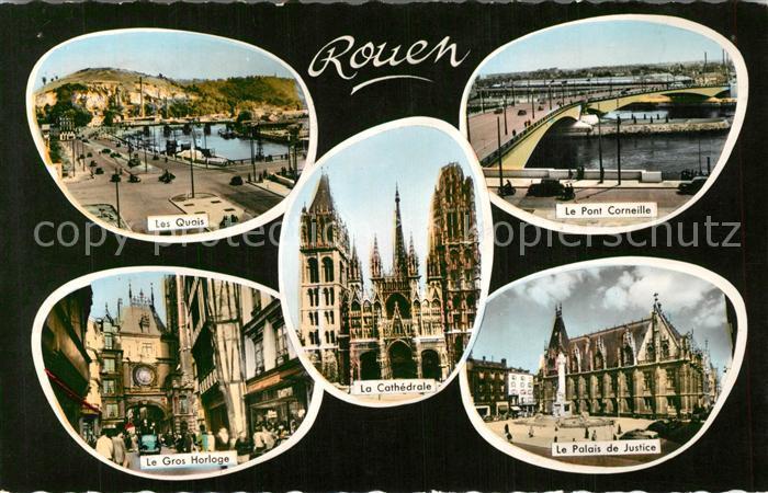 AK / Ansichtskarte Rouen Quais Pont Corneille Palais de Justice Cathedrale Gros Horloge Rouen