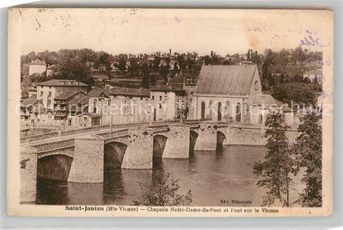 AK / Ansichtskarte Saint Junien Chapelle Notre Dame du Pont et Pont sur la Vienne Saint Junien