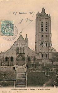 AK / Ansichtskarte Beaumont sur Oise Eglise et Grand Escalier Beaumont sur Oise