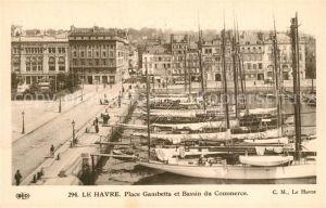 AK / Ansichtskarte Le_Havre Place Gambetta et Bassin du Commerce Segelboote Le_Havre