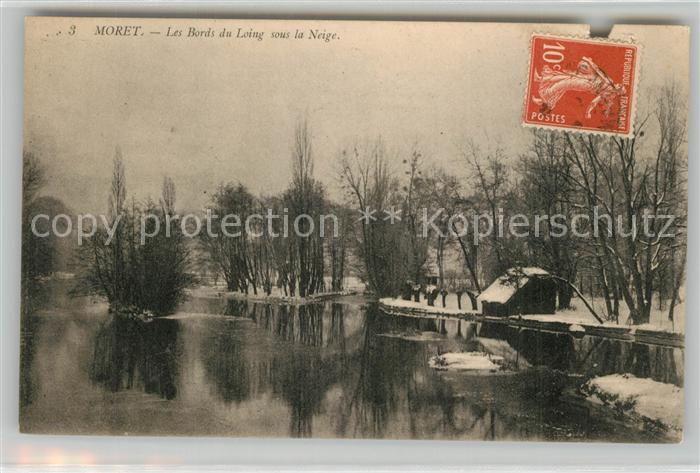 AK / Ansichtskarte Moret sur Loing Les Bords du Loing sous la Neige Moret sur Loing