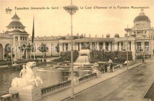 AK / Ansichtskarte Gand_Belgien Exposition Universelle de Gand 1913 La Cour d'Honneur et la Fontaine Monumentale Gand Belgien