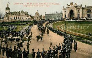 AK / Ansichtskarte Bruxelles_Bruessel Visite de le Roi et la Reine de Belgique Exposition 1910 Bruxelles_Bruessel