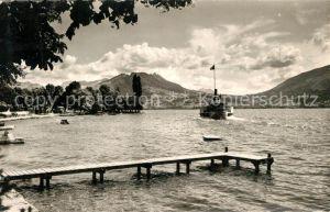 AK / Ansichtskarte Veyrier du Lac Lac d Annecy Bateau vue sur le Col de Leschaux Veyrier du Lac