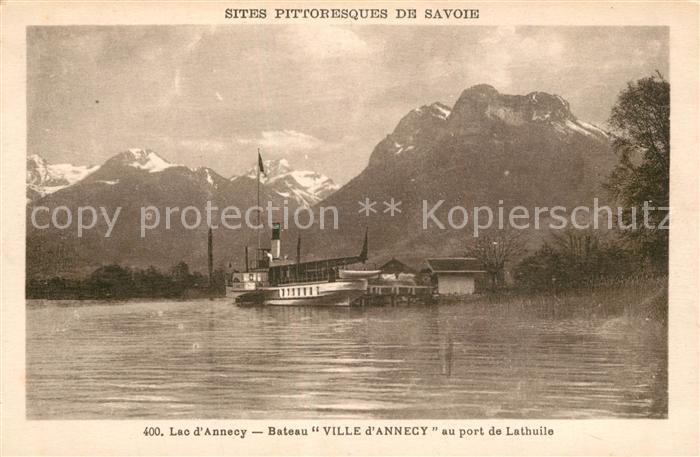 AK / Ansichtskarte Lathuile Lac d Annecy Bateau Ville d Annecy Alpes Lathuile