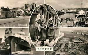 AK / Ansichtskarte Dieppe_Seine Maritime Chateau Bateau Lisieux Panorama Costumes Dieppe Seine Maritime